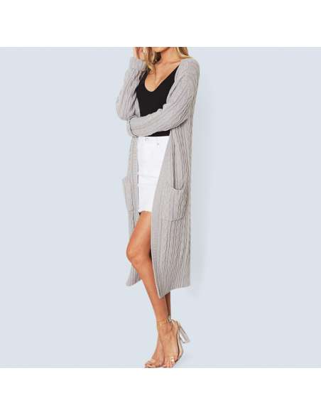 Women's Gray Long Cable Knit Cardigan with Pockets (Front View)
