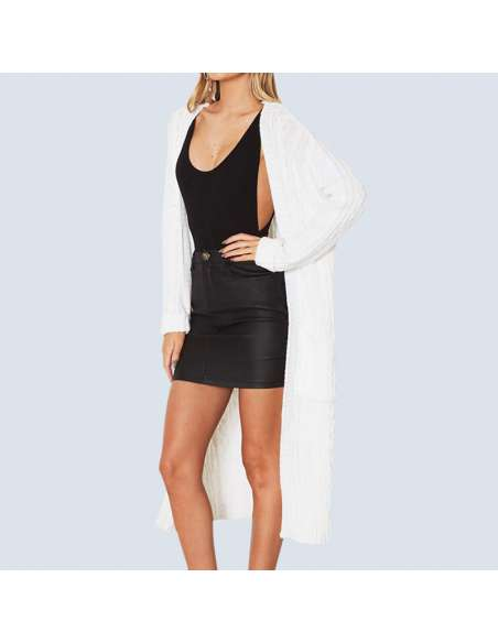 Women's White Long Cable Knit Cardigan with Pockets (Front View)
