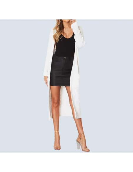 Women's White Long Cable Knit Cardigan with Pockets