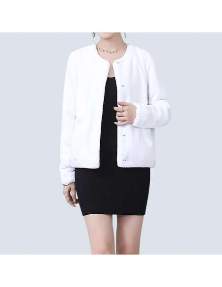 Women's White Faux Fur Jacket with Pockets (Open Front)