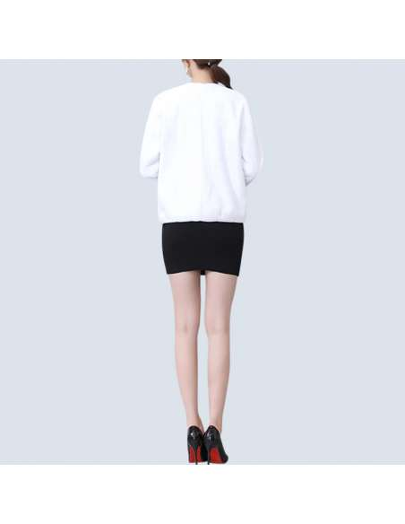 Women's White Faux Fur Jacket with Pockets (Back View)