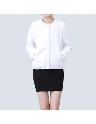 Women's White Faux Fur Jacket with Pockets