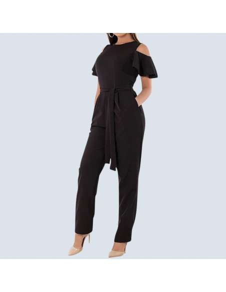 Women's Plus Size Black Cold Shoulder Jumpsuit with Pockets (Front View)