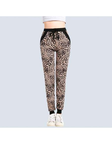 Women's Leopard Joggers with Pockets (Front)