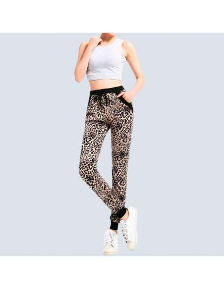 Women's Leopard Joggers with Pockets (Front View)
