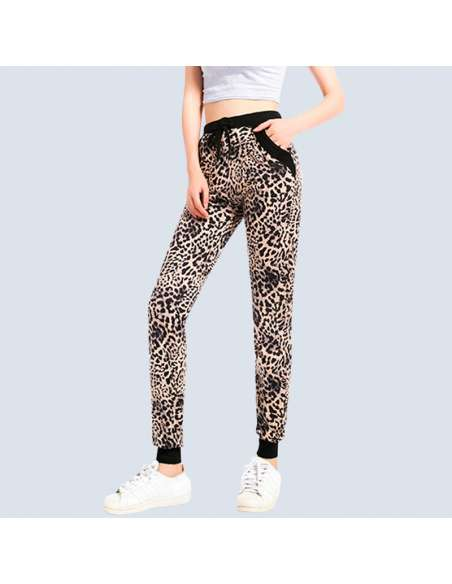 Women's Leopard Joggers with Pockets
