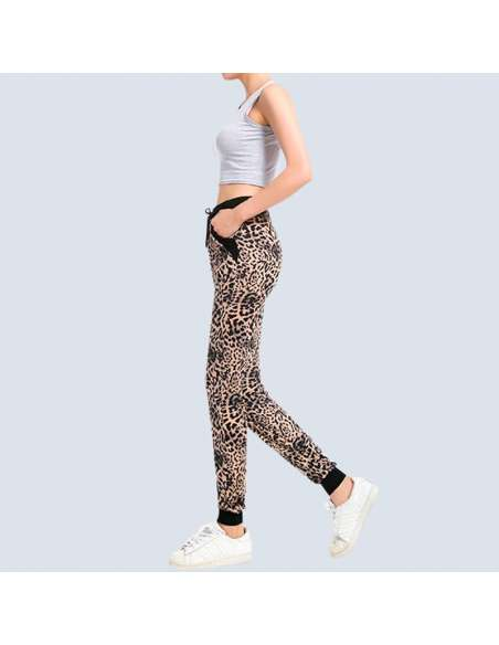 Women's Leopard Joggers with Pockets (Side View)