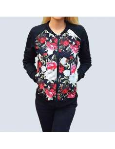 Women's Floral Bomber Pocket Jacket