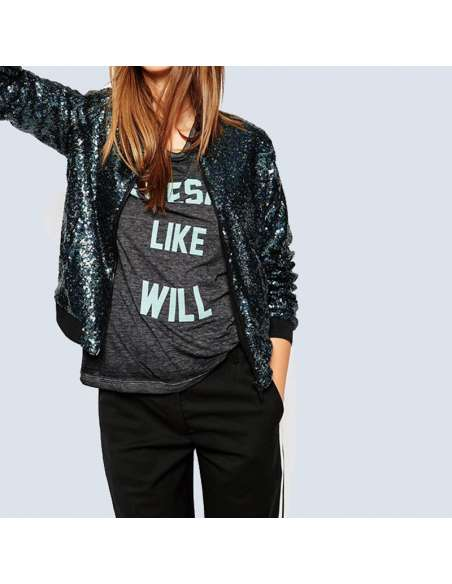 Blue Sequin Bomber Jacket with Pockets (Front Mid View)