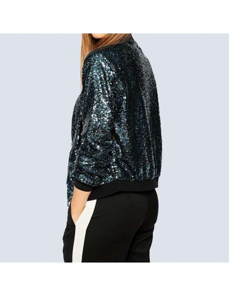 Blue Sequin Bomber Jacket with Pockets (Back View)