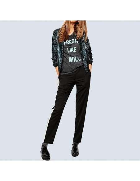 Blue Sequin Bomber Jacket with Pockets (Front View)