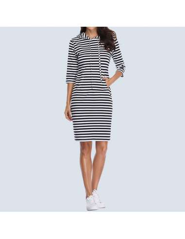 Black & White Striped Hoodie Dress with Pockets (Model Front View)