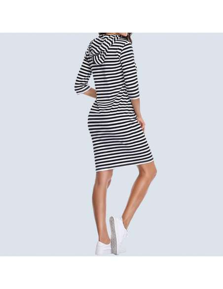 Black & White Striped Hoodie Dress with Pockets (Model Back View)