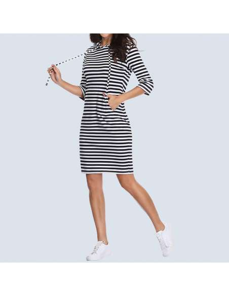 Black & White Striped Hoodie Dress with Pockets (Model Side View)