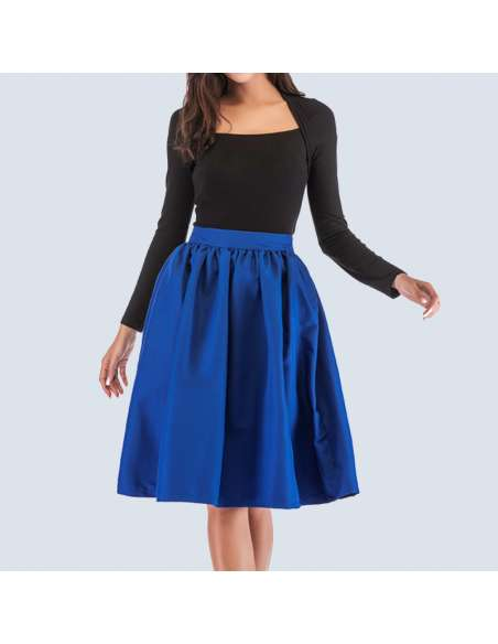 Royal Blue Flared Skirt with Pockets (Front Mid View)
