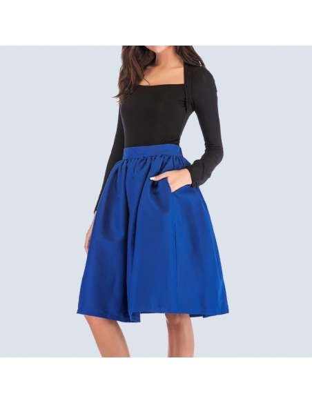 Royal Blue Flared Skirt with Pockets