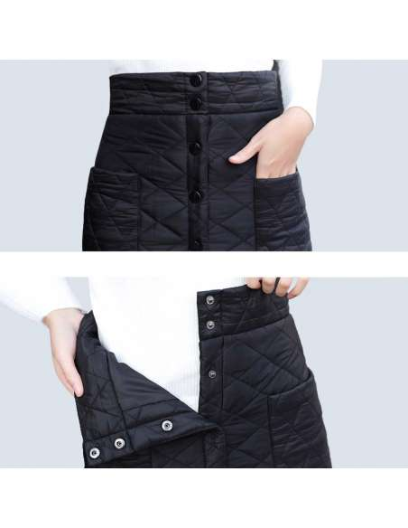 Black Quilted Skirt with Pockets (Close Up)