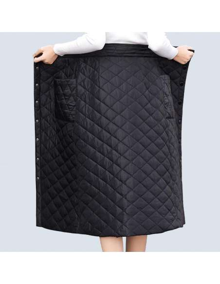 Black Quilted Skirt with Pockets (Back View)