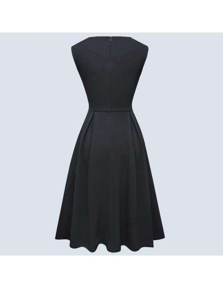 Black Pleated Midi Dress with Pockets (Back View)