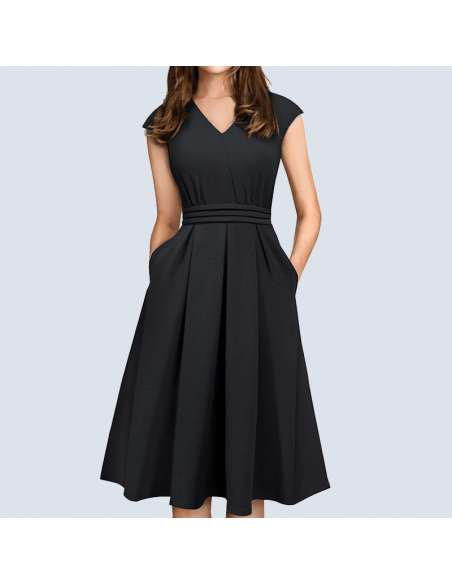 Black Pleated Midi Dress with Pockets (Model View)