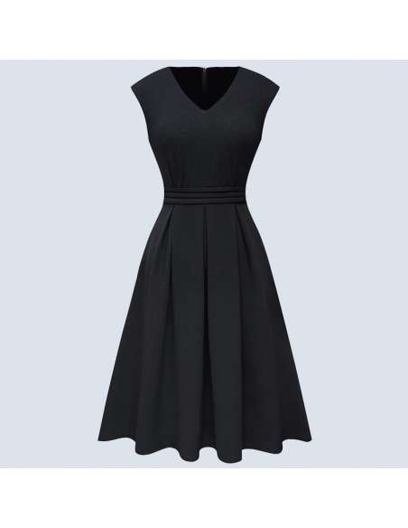 Black Pleated Midi Dress with Pockets (Front View)