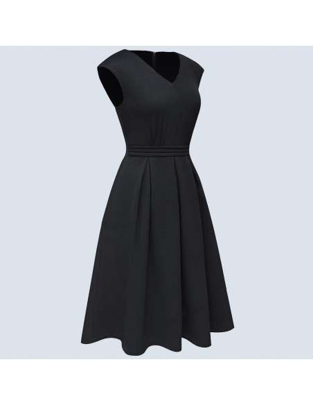 Black Pleated Midi Dress with Pockets (Side View)