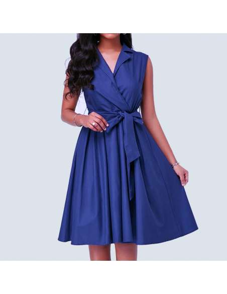 Lapis Blue Sleeveless Shirt Dress with Pockets (Model Front View)