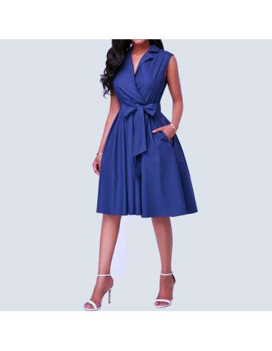 Lapis Blue Sleeveless Shirt Dress with Pockets (Model Front Full View)