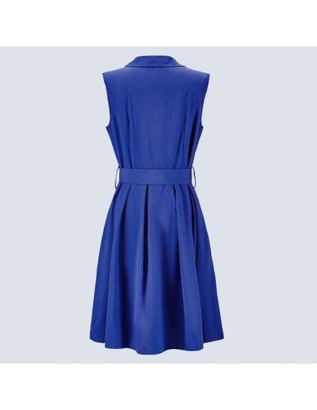 Lapis Blue Sleeveless Shirt Dress with Pockets (Front View)