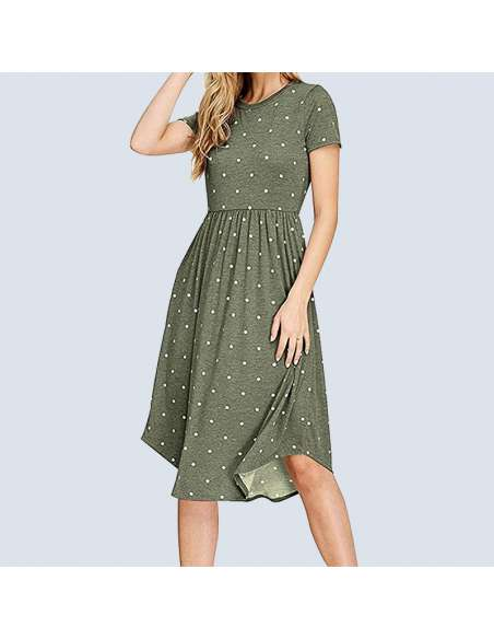Green Polka Dot Dress with Pockets (Model Front View)