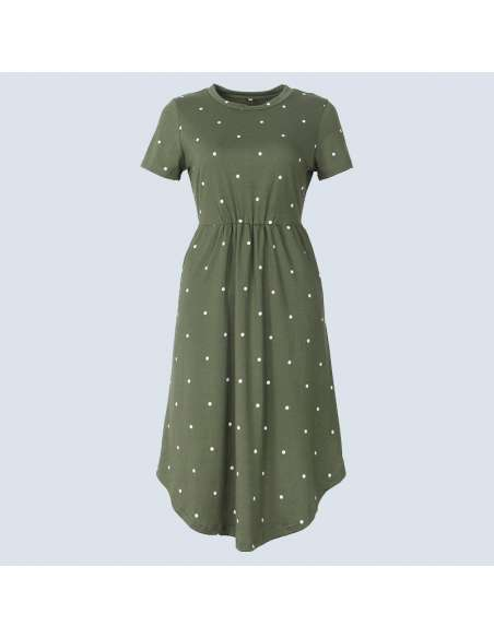 Green Polka Dot Dress with Pockets (Front View)