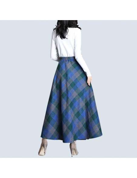 Blue & Green Plaid Maxi Skirt with Pockets (Back View)