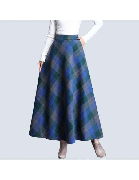 Blue & Green Plaid Maxi Skirt with Pockets (Front View)