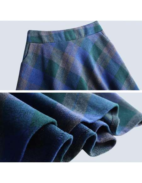 Blue & Green Plaid Maxi Skirt with Pockets (Details)