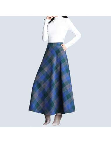 Blue & Green Plaid Maxi Skirt with Pockets