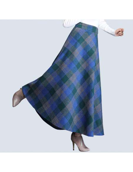 Blue & Green Plaid Maxi Skirt with Pockets (Side View)