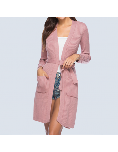Dusty Pink Belted Cardigan with Pockets