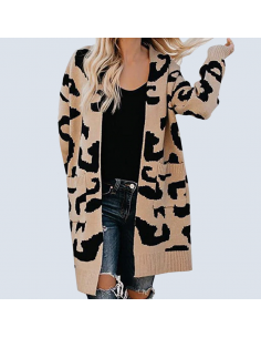 Women's Leopard Cardigan with Pockets (Front View)