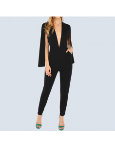 Women's Black Jumpsuit with Pockets and Cape Sleeves