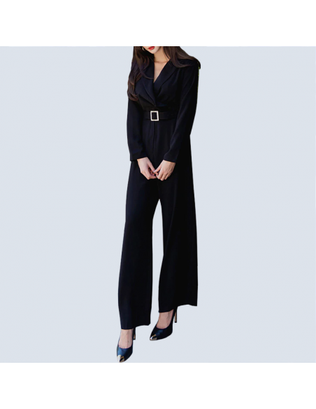 Women's Black Formal Jumpsuit with Pockets (Front View)