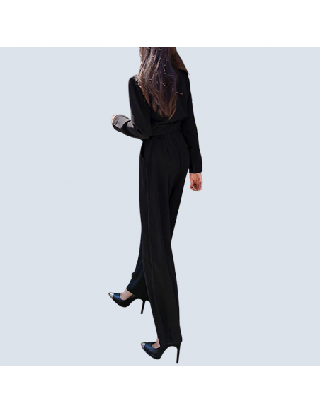 Women's Black Formal Jumpsuit with Pockets (Back View)