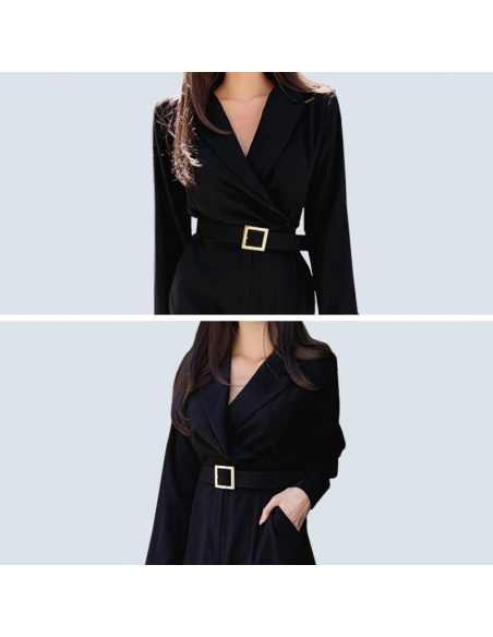 Women's Black Formal Jumpsuit with Pockets (Bodice Closeups)