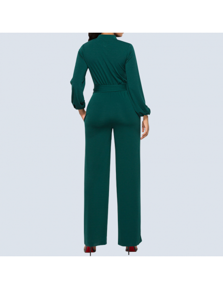 Women's Mermaid Green Long Sleeve Jumpsuit with Pockets (Back View)