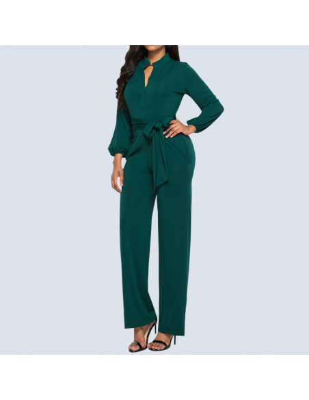 Women's Mermaid Green Long Sleeve Jumpsuit with Pockets (Front View)