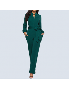 Women's Mermaid Green Long Sleeve Jumpsuit with Pockets