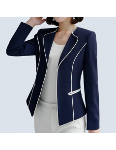 Women's Midnight Blue Piped Blazer with Pockets