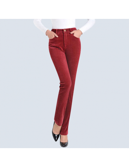 Women's Red Corduroy Pants with Pockets