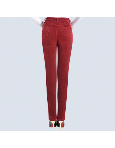 Women's Red Corduroy Pants with Pockets (Back View)