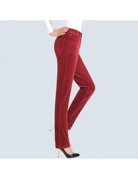 Women's Red Corduroy Pants with Pockets (Side View)