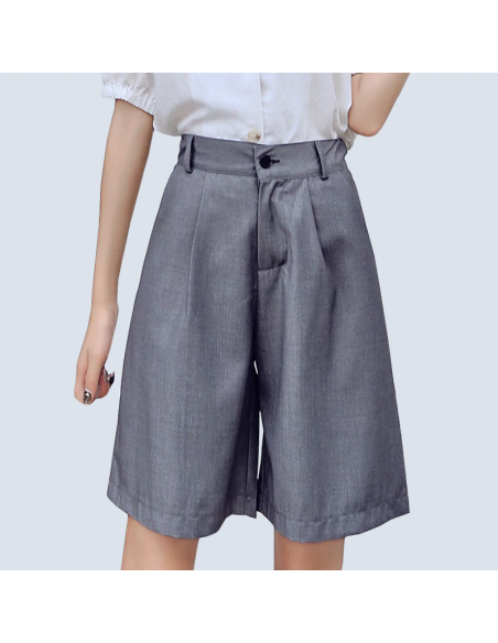Women's Gray Bermuda Shorts with Pockets (Front View)